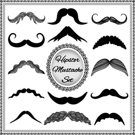 hair mask: Set of vintage mustaches. Hipster mustache collection. Isolated on white background.