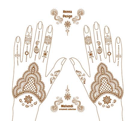 henna manos tatuaje fondo. Ilustración de vector