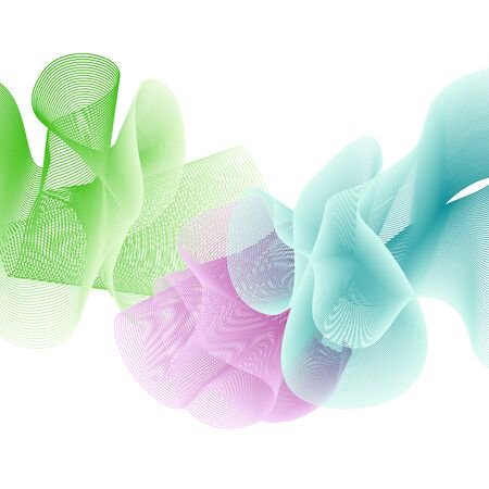 Abstract colorful background of flounced ribbons.