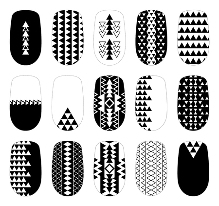 Nail art black-and-white geometric templates. Manicure design set. Can be used for false tips stickers. 矢量图像