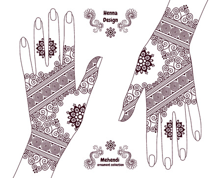 Henna tattoo hands background. Mehendi ornament design. Indian ethnic style ornamental pattern. Ornaments are not cropped and hidden under clipping mask.