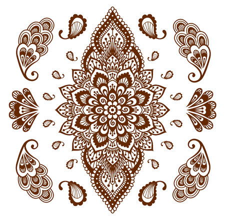Mehendi ornament collection. Indian henna tattoo set. Oriental style hand-drawn decorative design templates. Illustration