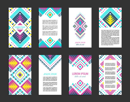 Aztec style colorful vertical flyer set. American indian ornamental pattern design. Front and back pages. Ornamental collection with ethnic motifs. Tribal decorative template.