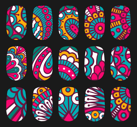 Nail art oriental style templates. Manicure design set. Can be used for false nail tips and stickers.