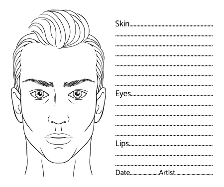 Male face chart blank for professional make-up artists.