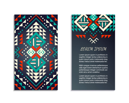 colombian: Aztec style colorful vertical flyer. American indian pattern design. Front and back pages. Ornamental blank with ethnic motifs. Tribal decorative template.