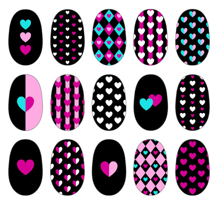 Nail art heart templates. Manicure design set. Can be used for tips and stickers.