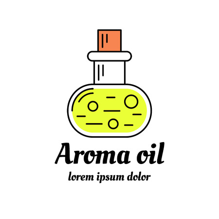 Bottle of aromatic oil icon. Aromatherapy and spa logo design. Line art illustration.