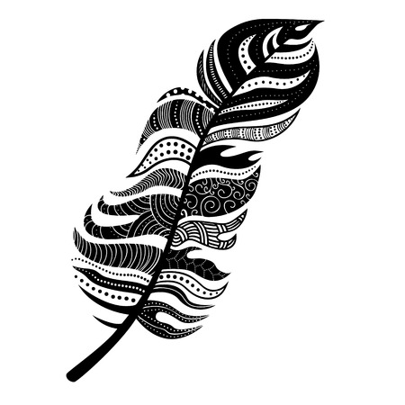 Decorative feather. Can be used for body art, tattoo design and stickers.