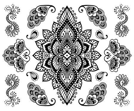 Hand-drawn mehendi ornament collection. Indian henna tattoo set. Oriental style decorative design templates.