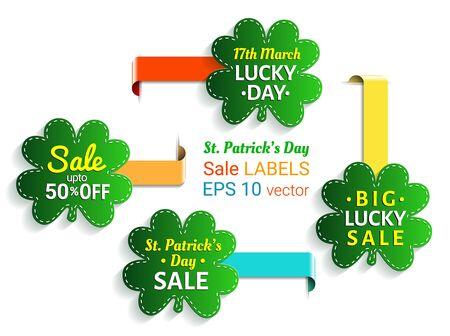 fourleaved: St. Patricks day sale shamrock label collection.