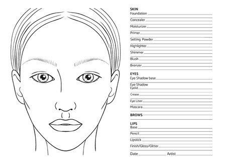 Female face chart blank for professional make-up artists. Illustration