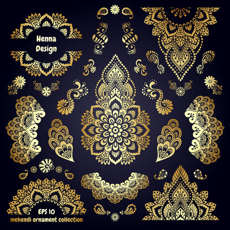 mendie: Hand-drawn mehendi golden colored ornamental pattern design set. Indian tattoo template collection. Oriental style decorative sticker templates. Isolated. EPS 10 vector illustration.