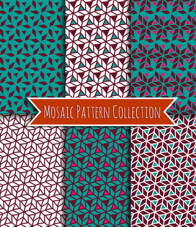 grid: Mosaic seamless geometric pattern collection. EPS 10 vector.