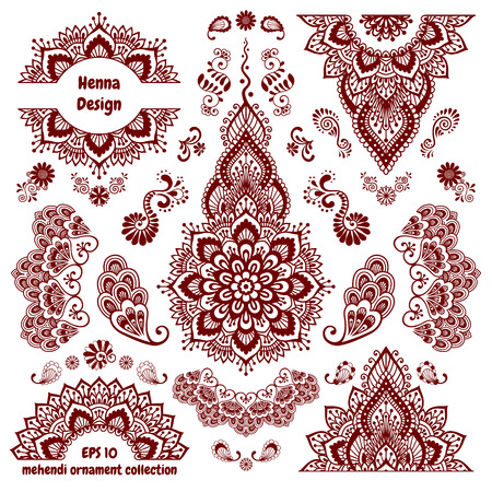 Hand Drawn Mehendi Ornamental Pattern Design Set Indian Henna Tattoo Collection For Hands