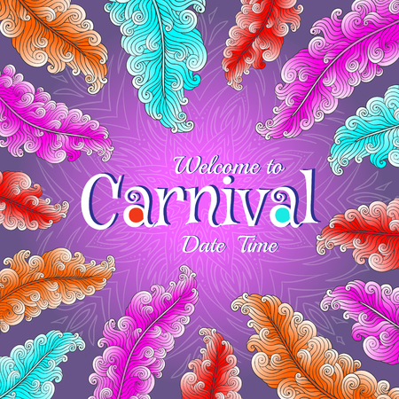 Carnival poster with colorful feathers.