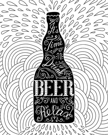 Beer bottle with lettering on the doodle background.