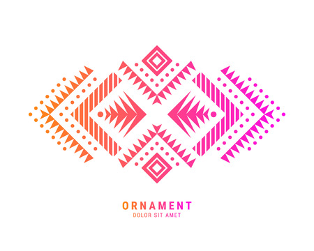 Aztec style colorful ornament. American indian ornamental pattern design. Tribal decorative template. Ethnic ornamentation.