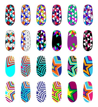 Nail art abstract colorful templates. Manicure design set. Can be used for false tips and stickers. EPS 10. Isolated on white.
