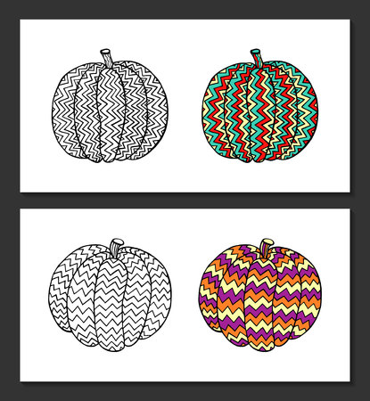 Pumpkins with hand-drawn geometric ornaments. Black-white and colored samples. Coloring books for adult, posters, postcards, t-shirt, pillow case prints.