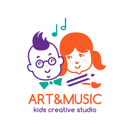 playgroup: Art and music children studio logo design with boy and girl. EPS 10 vector template. Isolated on white.