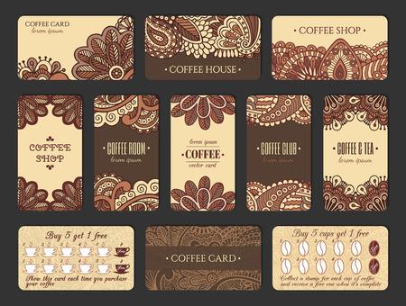 インド風のコーヒーの名刺のデザインを設定します。ロイヤルティ プログラムと垂直方向と水平方向のカード。  イラスト・ベクター素材