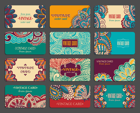 Vintage ornate design business card collection with floral texture. Stock Vector - 80906915