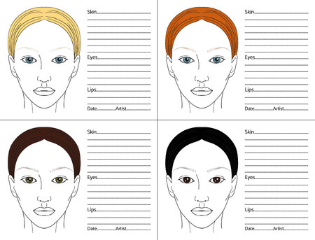 Female face chart  blank set for professional make-up artists. Different colors of hair and eyes.