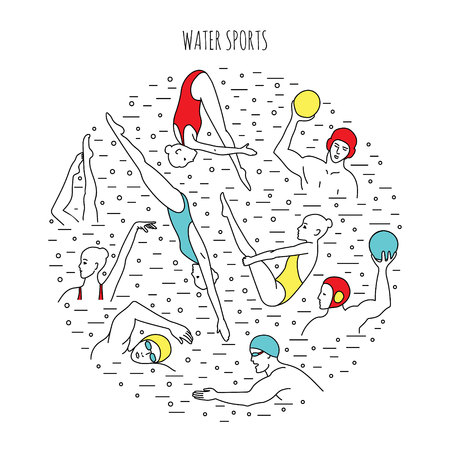 Water sport vector illustration. Round composition with water polo players, divers, synchro-swimmers.