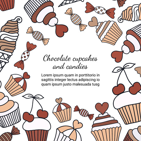 Chocolate cake, candy, ice cream doodle background. Colored decorative card template of hand-drawn sweets. Cookery design flyer. Culinary concept booklet page. EPS 10 vector illustration.