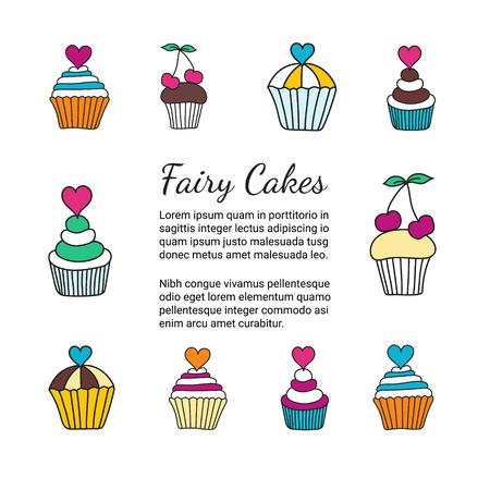ケーキのパンフレット。エレガントな手描きのお菓子の色の装飾的なカードのテンプレートです。料理デザイン チラシ。料理用の概念の小冊子。EPS   イラスト・ベクター素材