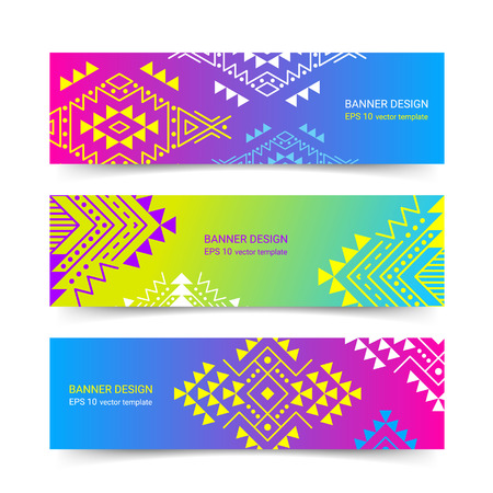 Bright colorful horizontal gradient banner design temlpate set with tribal aztec style ornament. Ethnic background collection. EPS 10 vector website header concept illustration. Clipping masks. Illustration