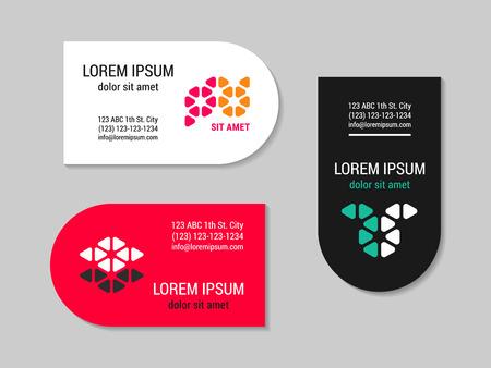 Minimalism style  corporate business card set with geometric logo. Round side design template. EPS 10 vector. Illusztráció
