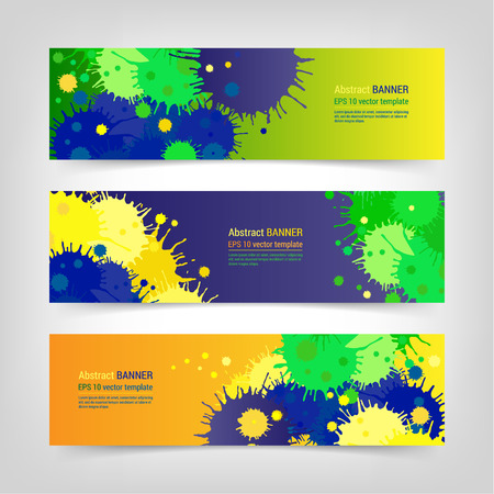 Bright colorful banner design temlpate set made of blots. Abstract background with paint spots and splashes. EPS 10 vector website header concept illustration. 3 off masks.