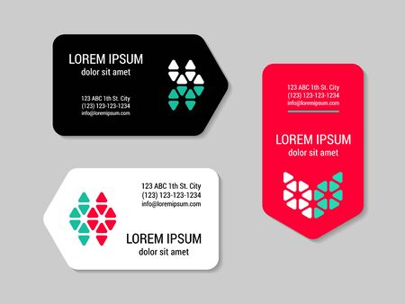 Minimalism style  corporate business card set with geometric logo. Arrow side design template. EPS 10 vector.