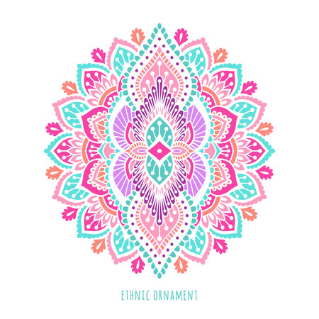 Indian colorful ornamentation design. Asian traditional mehandi style decor. EPS 10 vector illustration isolated on the white background. Иллюстрация