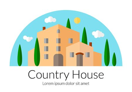 Country house flat design. Countryside villa template. Beautiful Italian style palace with cypress trees. Agricultural landscape concept. EPS 10 vector illustration isolated on white background. Çizim