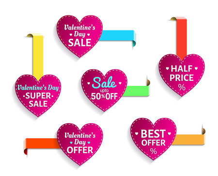 love of money: Valentines day sale heart labels. EPS 10 vector illustration. Isolated.