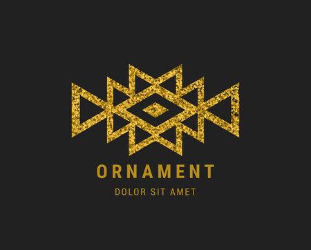 Aztec style geometric vintage logo. Gold glitter texture. American indian ornate pattern design. Tribal decorative template. Ethnic ornamentation. EPS 10 vector. Metallic ornamental  retro emblem. Illustration