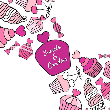 Cake, candy, ice cream doodle background. Colored decorative card template of hand-drawn sweets. Cookery design flyer. Culinary concept. EPS 10 vector illustration. Illustration