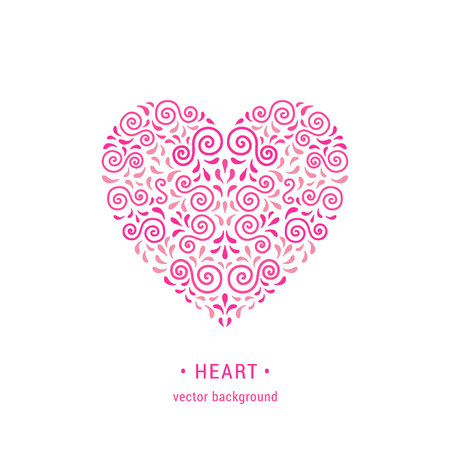 Ornamental pink heart made of swirls and leaves. Romantic retro style flourish emblem. EPS 10 vector illustration. Valentines day card design template. Isolated on white background. Illustration