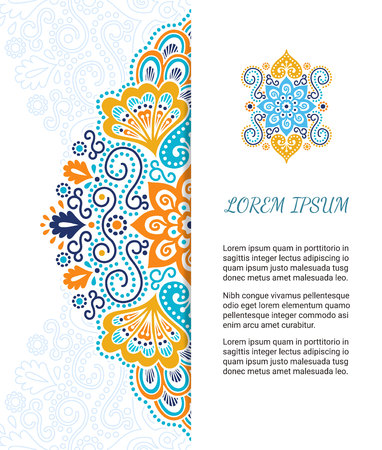 sacral: Indian style colorful ornate card. Ornamental blank with ethnic motifs. Oriental graphic design concept. Paper brochure template. EPS 10 vector illustration. Clipping mask.