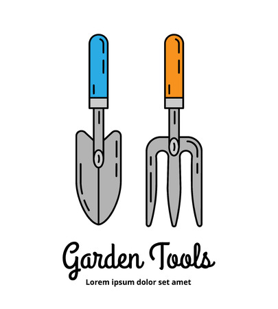 loosening: Garden scoop and hand cultivator colorful icons. Line art design concept. Farming equipment symbols. Can be used as a shop or horticultural market logo. EPS 10 isolated vector illustration.
