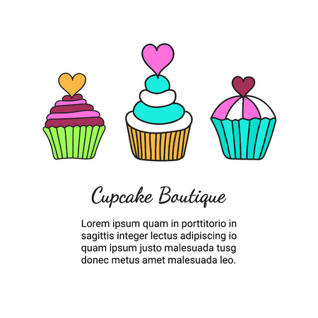 fruitcakes: Cupcake brochure. Colored decorative card template of elegant hand-drawn sweets. Cookery design flyer. Culinary concept booklet. EPS 10 vector illustration.