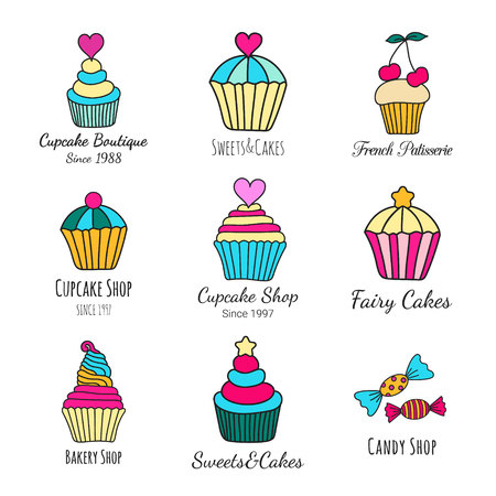 Candy and cupcake logo design. Colored logotype set of hand-drawn sweets. Cookery doodles. Culinary brand concept. EPS 10 vector illustration.