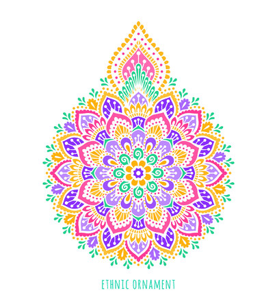 Indian colorful  ornamentation design. Asian traditional mehandi style decor. EPS 10 vector illustration isolated on the white background.
