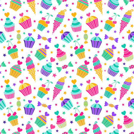 fruitcakes: Cake, candy, ice cream doodle seamless pattern. Colored endless background of  hand-drawn sweets. Use for decorative gift packing, textile and paper printing. EPS 10 vector illustration. Illustration