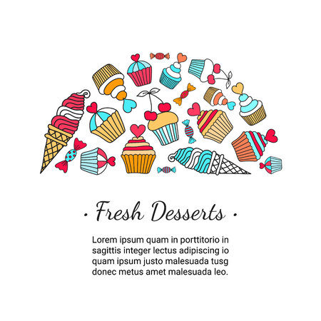 fruitcakes: Cake, candy, ice cream doodle background. Colored decorative card template of hand-drawn sweets. Cookery design flyer. Culinary concept. EPS 10 vector illustration. Illustration