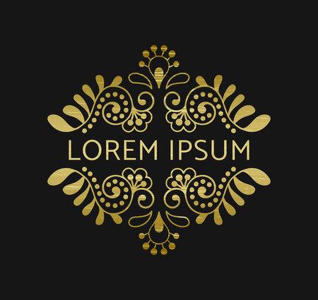 sequin: Elegant retro flourish decor. Vintage logo design with gold antique texture. Baroque style ornament for boutique, restaurant, cafe, flower shop emblem. EPS 10 vector illustration. Clipping mask. Illustration