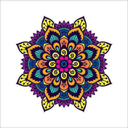 Colorful mehendi style mandala. Henna tattoo design template. indian ornamental round pattern. EPS 10 vector illustration. Isolated on white background.